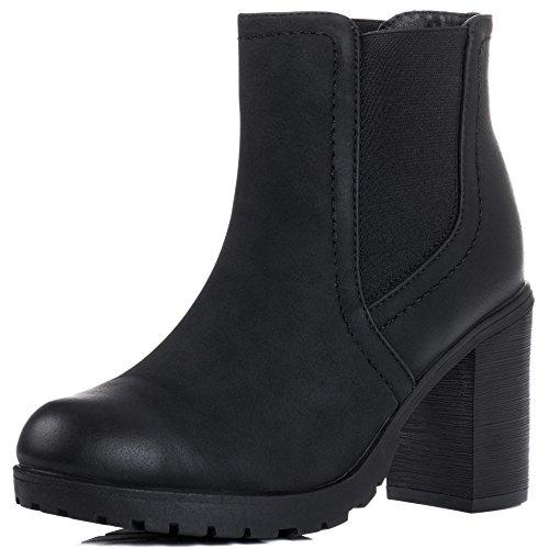 Platform Block Heel Chelsea Ankle Boots Black Leather Style Sz 4