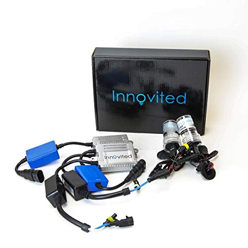 Innovited Premium AC Canbus Error Free HID Bundle - No Flicker with (1 Pair) Ballast and (1 Pair) Xenon Bulb - H4 9003 (Low beam Only) - 5000K - Prue White