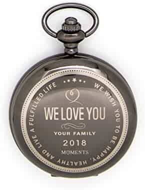 Pocket Watch with Chain, Engraved with We Love You for Husband, Son or Brother, Keepsake Gift for Birthday, Anniversary, Valentines Day, Christmas by Moments