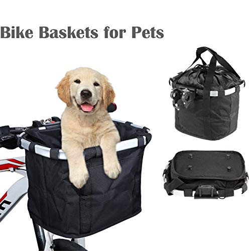 HAAMIIQII Black Bike Basket for Dogs, Foldable Small Pets Cats Dogs Carrier Front Removable Bicycle Handlebar Basket Quick Release Easy Install Detachable Cycling Bag Mountain Picnic Shopping