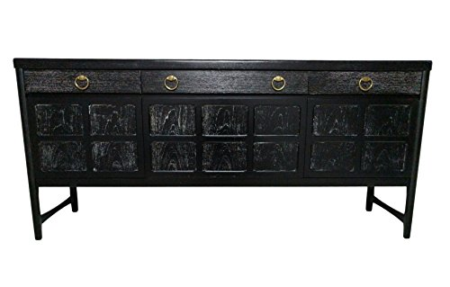 Mid Century Cerused Credenza, Bar or Media console- Black & white grain (Rosewood Credenza)