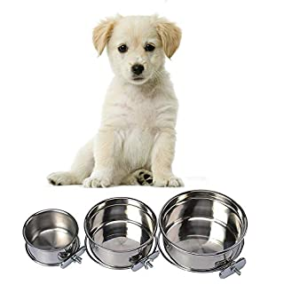 Pet Dog Stainless Steel Coop Cups with Clamp Holder - Detached Dog Cat Cage Kennel Hanging Bowl,Metal Food Water Feeder for Small Animal Ferret Rabbit (Medium)