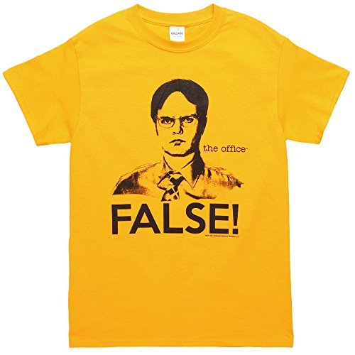 The Office Dwight False! Adult T-shirt - Yellow (Large) -