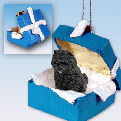 Chow Black Gift Box Blue Ornament