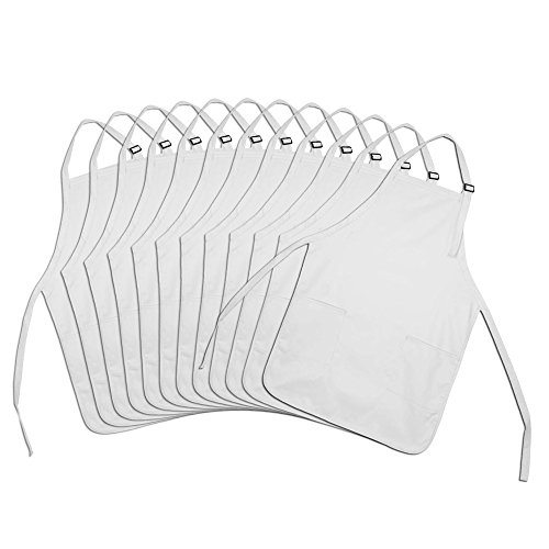 (DALIX Apron Commercial Restaurant Home Bib Spun Poly Cotton Kitchen Aprons (2 Pockets) in White 12 Pack)