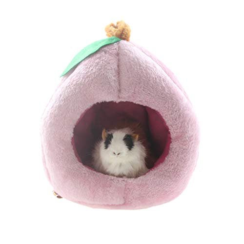 Emours Rats Hamster Chinchilla Winter Warm Fleece Hanging Cage Hammock House Cute Fruit Design with Bed Mat,L,Pink