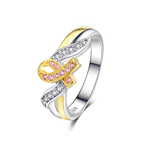 Breast Cancer Rings - O-C Courage Strength Hope Faith Ring Pink Ribbon Breast Cancer Awareness Ring for Women