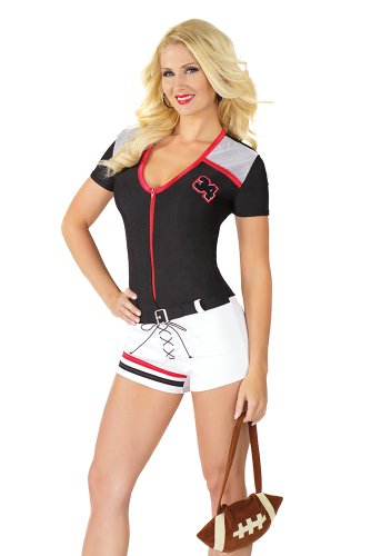 Women's Quarterback Costume, White/Black