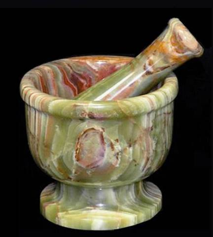 Green Onyx Stone Mortar and Pestle Set - 4 Inch by Khan Imports
