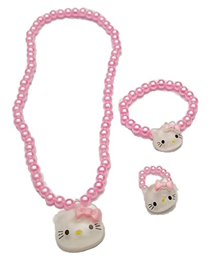BUNFIREs For Little Girls and Toddlers - Bow Stretch Necklace and Bracelet Ring Set - Great Costume Jewelry and Accessories Sets For Children To Play Pretend Dress Up (Pink) ()