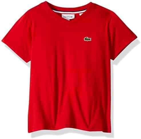 9b40c3b48aaa8 Lacoste Boys  Short Sleeve Solid V-Neck Tee Shirt
