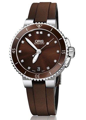 Oris Aquis Date Diamonds Brown Dial Brown Textile Ladies Watch 01 733 7652 4192-07 5 18 12FC