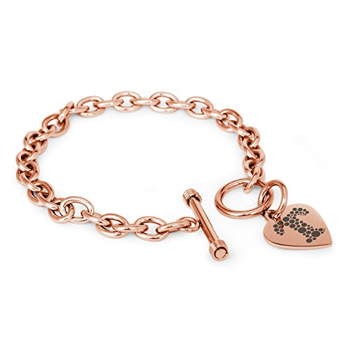 Rose Gold Plated Stainless Steel Letter T Initial Dotted Monogram Heart Charm Toggle, Bracelet Only