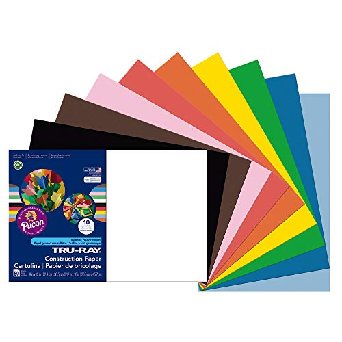 Pacon Construction Paper, 12 x 18 Inches, 50 Per Pack, Assorted (PAC103063) ()