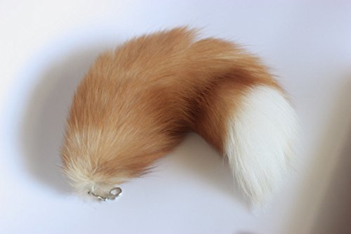 HonestShop 16.5' Supper Huge Fluffy Golden Yellow Fox Tail Fur Cosplay Toy Alopex Lagopus Handbag Accessories Key Chain Ring Hook Tassels Fashion