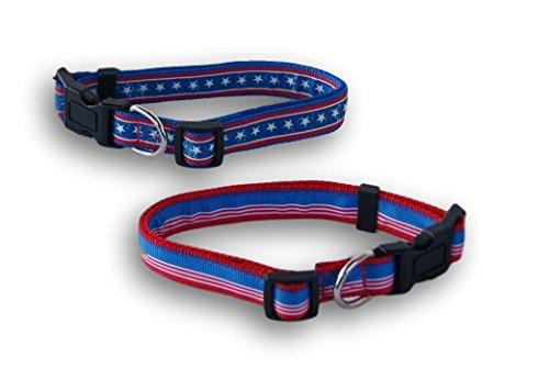 Aspen Pet USA Themed Patriotic Large Dog Collars - Set of 2 Aspen Pet Adjustable Dog Collar