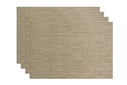Ritz TechStyle Reversible Woven Grass Cloth Placemats (Set of 4), Camel