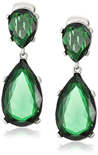 Kenneth Jay Lane Emerald-Color Teardrop Silver Clip Earrings by Kenneth Jay Lane