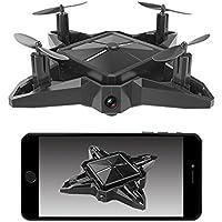 Mini Quadcopter Drone FPV with Wifi Camera Live Video Foldable Headless Mode RTF S11(Black)