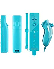TheMax® WII U Built in Motion Plus Dark Blue Remote Console Controller Nunchuk Controller For Nintendo Wii U Remote WII + FREE SILICONE COVER AND STRAP