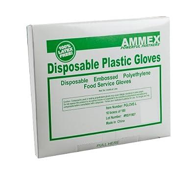 AMMEX PGLOVE-L Food Service Poly Large Glove 100/Box, Clear