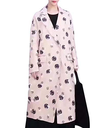 YESNO QL7 Women Fashion Long Maxi Wool Blend Coat Cute Printed Notch Lapel Long Sleeve Back ()