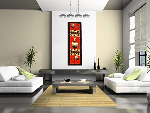 (African Wall Art Decor livingroom,Dinning Room, Bedroom,etc, Cloth Painting Unique African Pot Cup. This Batik/Canvas Cloth Painting Weighs Less Than Quarter a Pound. 62.50 X 21 inch.)