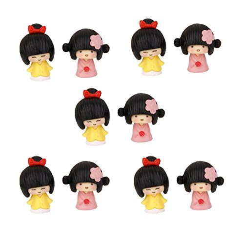 MagiDeal 10Pcs Miniature Dollhouse Bonsai Craft Fairy Garden Glass Vase Kimono Girls Decor