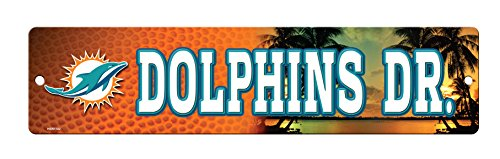 NFL Miami Dolphins 16-Inch Plastic Street Sign Décor -