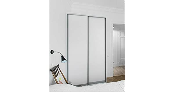 Melamina puerta corredera para armario, 2 paneles, color blanco, 48 x 80