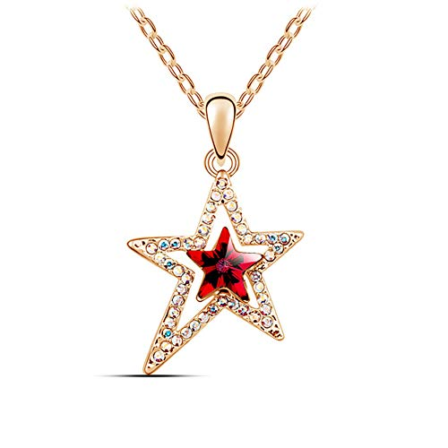 MIXIA Charm Triple Crystal Star Long Sweater Chain Necklace Fine Jewelry Crystals Women Red Pearl Cross Tassel Necklace (Irregular Star Gold)