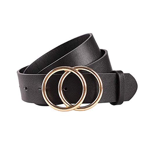 Gackoko Women Leather Belt for Dress & Jeans Fashion Soft Leather with Double O-Ring Buckle