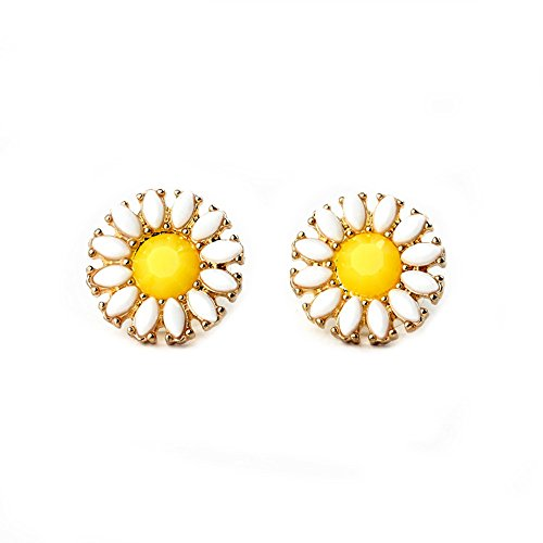 Carfeny White Lotus Earrings Daisy Yellow Sunflower Topaz Gold Pierced Stud Earrings For Teen Girls Kids