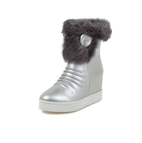 Heels Allhqfashion Closed Women's Boots PU High Toe Silver Top Low Round Zipper 7YqZxnBYr