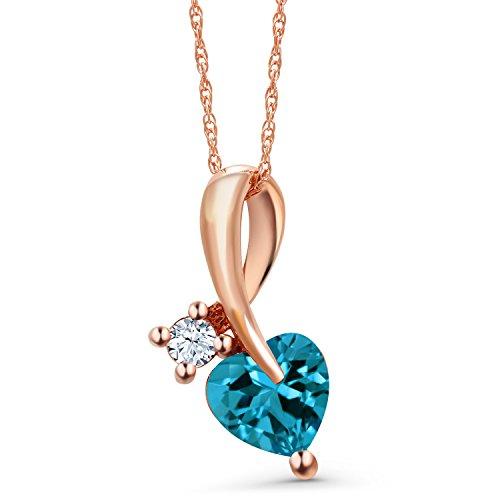 (Gem Stone King 1.08 Ct London Blue Topaz White Created Sapphire 10K Rose Gold Pendant)