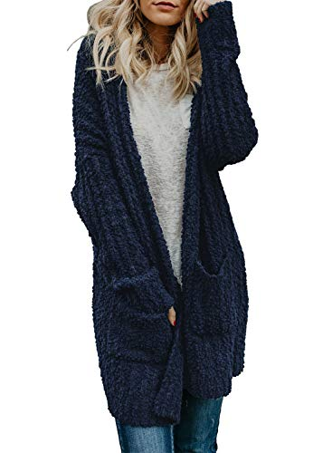 Sidefeel Women Long Sleeve Open Front Soft Outwear Cardigan XX-Large Navy
