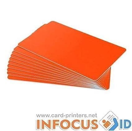 100 x Naranja Fluorescente Pvc Plástico Tarjetas cr-80 30mil para ...