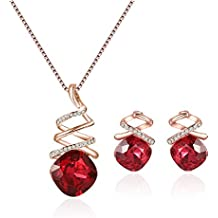 Lovelychica Elegant Silver Plated Crystal Jewelry Set Waterdrop Pendant Earrings Wedding Party Accessories for Women