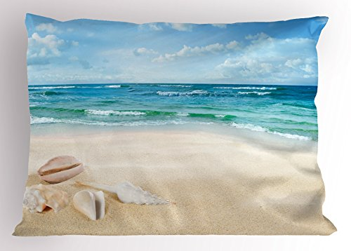 Ocean Decor Pillow Sham by Ambesonne, Beach Sand Waves Sealife Marine Decor with Shels Hot Summer Sun Print, Decorative Standard King Size Printed Pillowcase, 36 X 20 Inches, Teal Blue - Shel Sea
