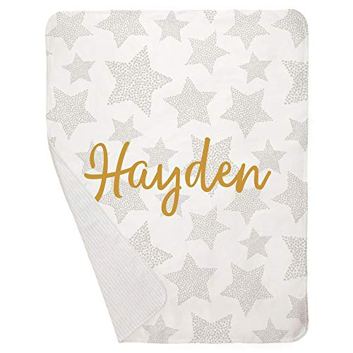 Carousel Designs Personalized Custom French Gray Galaxy Stars Crib Blanket Hayden Idea - Baby Blanket - Made in The USA