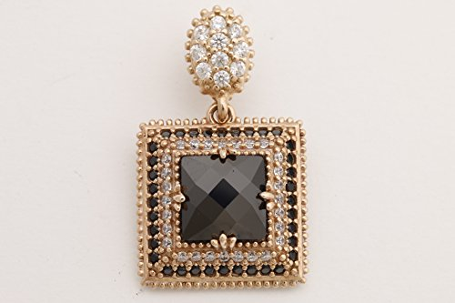 Turkish Handmade Jewelry Square Shape Black Onyx and Round Cut Topaz 925 Sterling Silver Pendant
