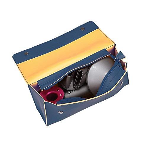 BUBM PU Leather Portable Travel Bag for Dyson Supersonic HD01 Hair Dryer,Fashion Zipper Moistureproof Anti-scratch Dustproof Shockproof Protection Organizer Travel Storage Case (Blue)