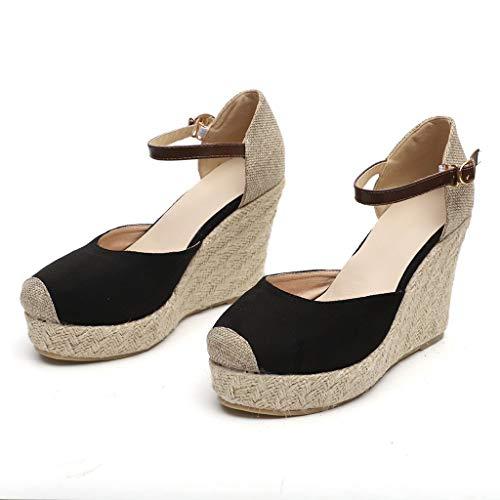 b6c15969b05 JJLIKER Women Chunky Platform Wedges Sandals Closed Toe Ankle Buckle Strap  Shoes Espadrille Non-Slip