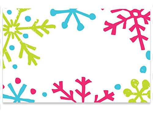 Pack Of 50, Bright Green, Turquoise and Pink Snowflake Jubilee Enclosure Card 3-1/2 x 2-1/4'' Made In USA by Generic