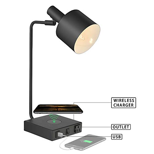 (Table Lamp,Multi-Function Light with Wireless Charging Pad and USB Charging Port Outlet, LMS Iron Desk Nightstand Lamps, Matte Black Finished, E12 Bulb Included)