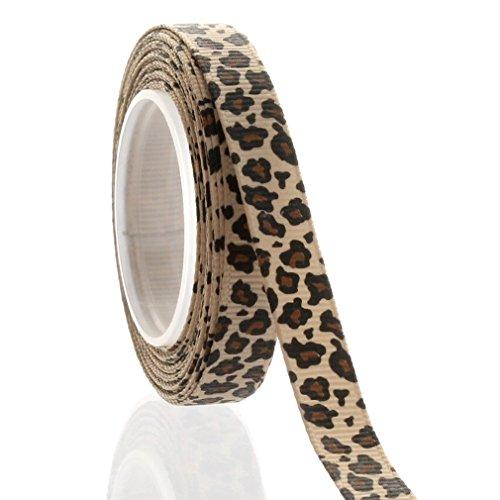 "3/8"" Tan Leopard Grosgrain Ribbon 5 Yard"