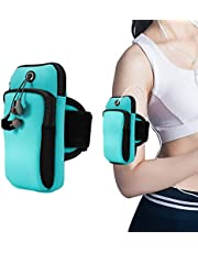 Phone Arm Bag,Outdoor Sports Multifunctional Armband - ID,Card Holder, Keys,Samsung Galaxy S9/S8/S7/S6/Edge/Plus & LG, Google & More,Double Pouch Armband Phone Holder for Running Walking Hiking Biking Gym