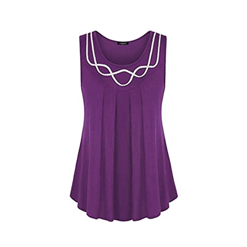 DongDong ♥Women O-Neck Plus Size Vest Blouse, Sleeveless Pure Color Tunic Top Shirt