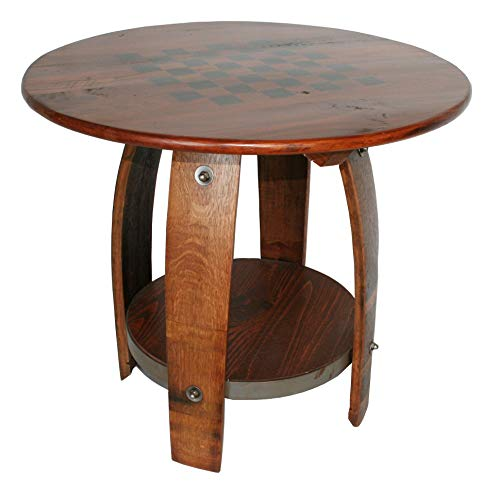 In the Garden and More Reclaimed Wine Barrel Checkers/Chess Game Board Side Table