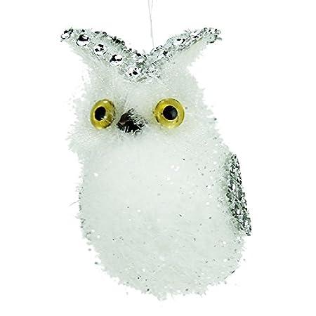 white owl christmas tree decoration with diamante wings tail 10cm